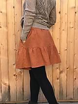 Sukne - Veselá - celoročná ľanová mini sukňa - 12406356_