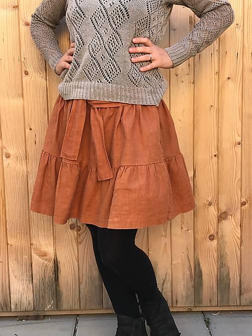 Veselá - celoročná ľanová mini sukňa