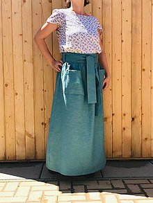 Sukne - Silná - celoročná ľanová maxi sukňa - 12406403_