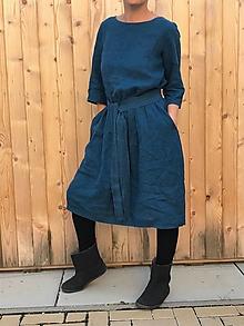 Šaty - Spokojná - ľanové šaty - 12406602_