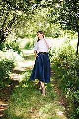 Sukne - Dlhá dámska ľanovo-vlnená sukňa KRÁĽOVSKÁ MODRÁ - 12405279_