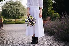 Sukne - Dlhá dámska ľanová sukňa BIELA - 12405281_