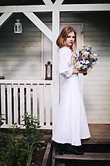 Sukne - Dlhá dámska ľanová sukňa BIELA - 12405282_