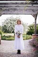 Sukne - Dlhá dámska ľanová sukňa BIELA - 12405283_