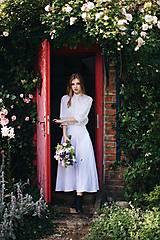 Sukne - Dlhá dámska ľanová sukňa BIELA - 12405285_