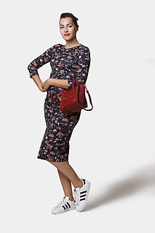 Šaty - Šaty Midi čierne so vzorom - 12410541_