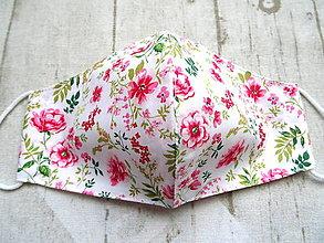 Rúška - Bavlnené rúška... dámske Romantic (Pivonky na bledučko ružovej) - 12411284_