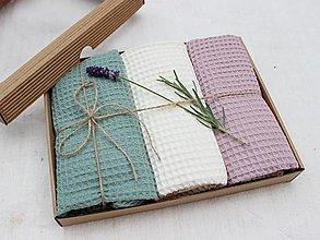 Úžitkový textil - Darčekový set utierok vafle Natur (viac farieb) - 12410038_