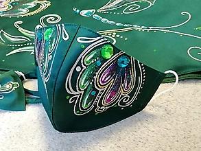 Rúška - RÚŠKO ručne maľované - smaragdové - 12413637_