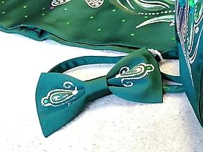 Doplnky - pánsky motýlik maľovaný - smaragdový - 12413644_
