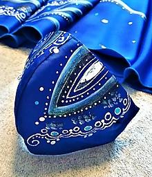 Rúška - RÚŠKO ručne maľované - modré - 12413656_