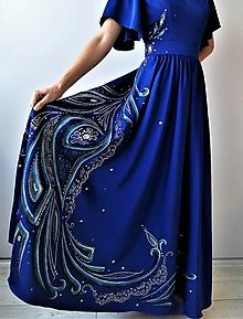 Šaty - Modré - ručná maľba na šatách - 12413683_