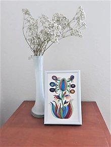 Obrazy - Kvet 3, maľba, tempera 10,7x15,7 cm - 12411200_