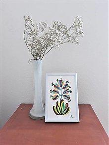 Obrazy - Kvet 4, maľba, tempera 10,7x15,7 cm - 12411239_