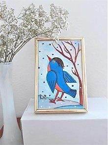 Obrazy - Vtáčik, tempera, 10,7 x 15,7 cm - 12413596_