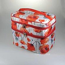 Taštičky - kufrík s aqarelovými makmi - 12410243_