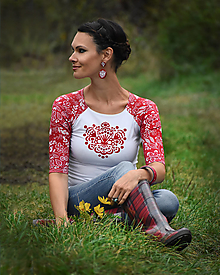 Tričká - Tričko Red Ornamental - 12412249_