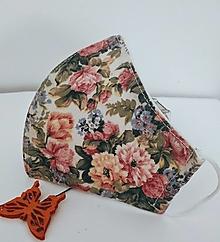 Rúška - Dizajnové rúško kvety - 12412885_