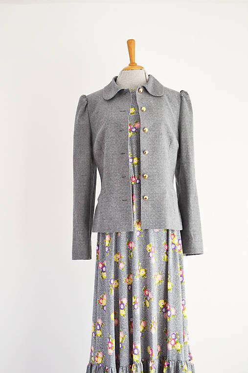 Viskózové maxi šaty s bodkovano-kvetovaným vzorom a volánom
