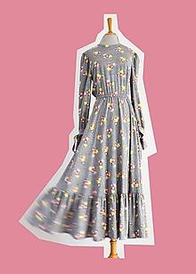 Šaty - Viskózové maxi šaty s bodkovano-kvetovaným vzorom a volánom - 12410987_