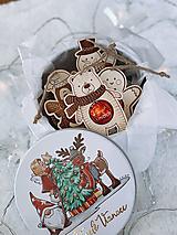 Drevené vianočné ozdoby salonky - Sada Zvieratiek