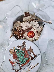 Dekorácie - Drevené vianočné ozdoby salonky - Sada Zvieratiek - 12416663_