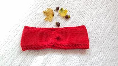 Ozdoby do vlasov - Pletená čelenka - červená - 12415091_