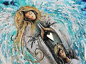 Obrazy - anjel s chlapcom a zlatým srdcom - modrý - 12418152_