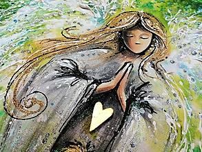 Obrazy - anjel s chlapcom a zlatým srdcom - zelený - 12418194_