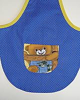 Detské oblečenie - Zásterka Macko na modrej - 12413970_