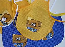 Detské oblečenie - Zásterka Macko na žltej - 12414006_