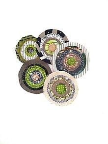 Materiál ručne robený - Kolieska zeleno-hnedé nažehlovacie - 12415803_