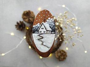 Magnetky - Mal'ovaná magnetka drevená - zimná rozprávka - 12415693_