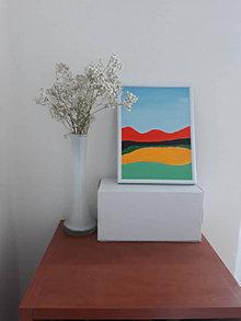 Obrazy - Krajina C, maľba, 15,5 x 20,5 cm, tempera - 12418139_