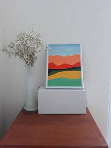 Obrazy - Krajina B, maľba, 15,5 x 20,5 cm, tempera - 12418154_