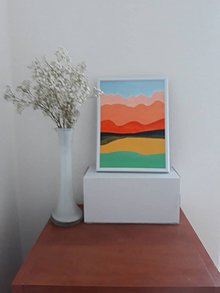 Obrazy - Krajina A, maľba, 15,5 x 20,5 cm, tempera - 12418163_