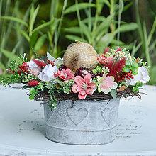 Dekorácie - Vintage ikebana so sviečkou - 12415337_