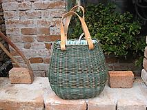 Kabelky - Prútená kabelka baňatá (Tmavozelená so zeleným prúžkom) - 12414270_