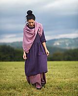 Šaty - lněné šaty Švestkové (L) - 12416715_