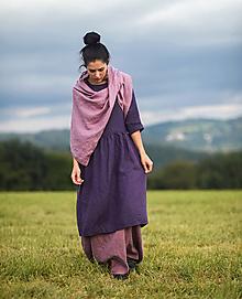 Šaty - lněné šaty Švestkové - 12416715_