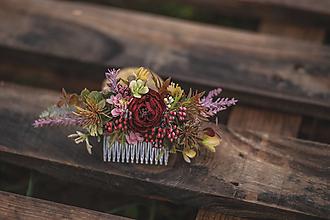 Ozdoby do vlasov - Jesenný kvetinový hrebienok do vlasov - 12418762_