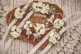 Ozdoby do vlasov - Svadobný set biela romantika - pierko, hrebienok - 12421024_