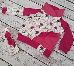 Detské oblečenie - Mikina a čelenka - lúčne kvety - 12422449_