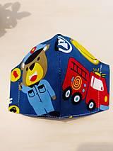 Rúška - Detské dizajnové rúško požiarnik - 12421617_