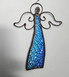 Dekorácie - Anjelik na stenu - modrý - 12418700_