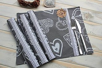Úžitkový textil - Prestieranie-srdiečka - 12420385_