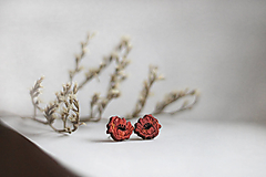 Drevené maľované náušnice Divé maky