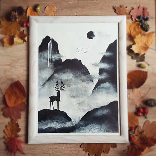 Jeleň na horách - kresba