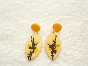 Náušnice - Náušnice z polyméru, žlté bobule - 12419390_