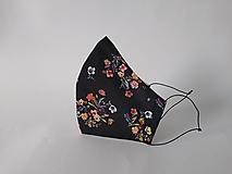Rúška - Dizajnové rúško lúka čierne tvarované dvojvrstvové (Dámske) - 12422722_